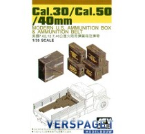 .30 Cal/.50 Cal/40mm Modern U.S. ammunition box and ammunition belt -AF35035
