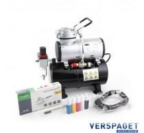 Airbrush Dual Action & Compressor & Drukvat & Water / Lucht Afscheider & gewapende Slang