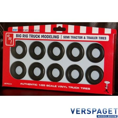 Big Rig Truck Semi Tractor & Trailer Set of 10 Tires -PP023/24