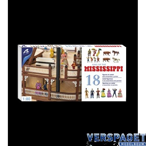 Set van 18 Metalen Figuren King of the Mississippi -20515F