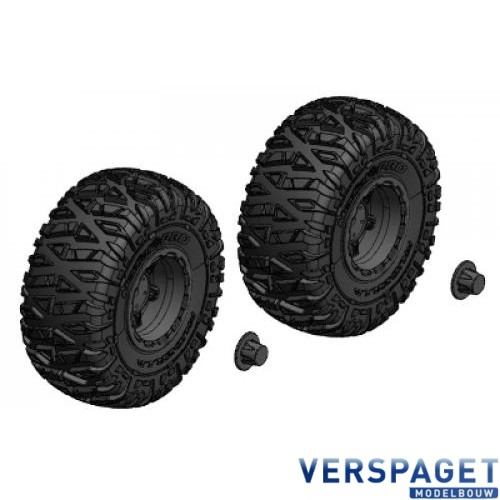 Tire and Rim Set - Truck - Black Rims - 1 Pair -C-00250-092-B
