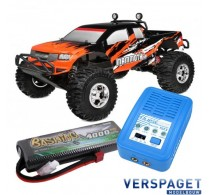 Mammoth XP Brushless Power 1/10 Monster Truck C00255  & PulseTec mega 50 Snellader & Gens Ace Lipo Accu