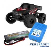 Triton XP Brushless Power 1/10  Monster Truck C00251 & PulseTec mega 50 Snellader & Gens Ace Lipo Accu