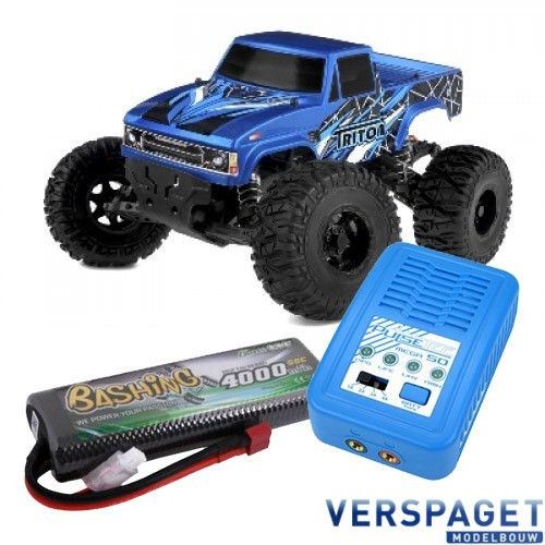 Triton SP Sport Power 1/10 Monster Truck C00250  & PulseTec mega 50 Snellader & Gens Ace Lipo Accu
