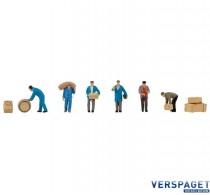 Transportmedewerkers met pakketten en vaten HO 1:87 -151609
