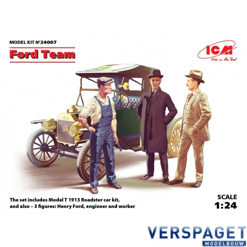 Ford Team  Model T 1913 Roadster and 3 figures -24007