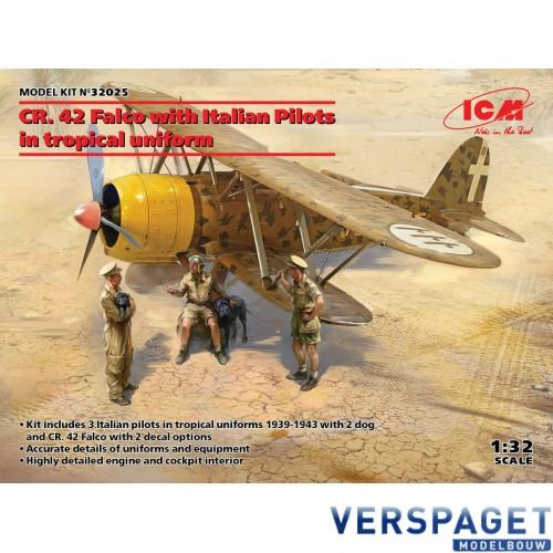 CR. 42 Falco with Italian Pilots in tropical uniform -32025