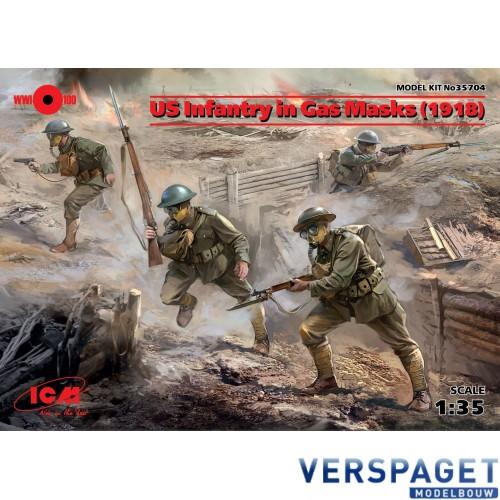US Infantry in Gas Masks (1918) -35704