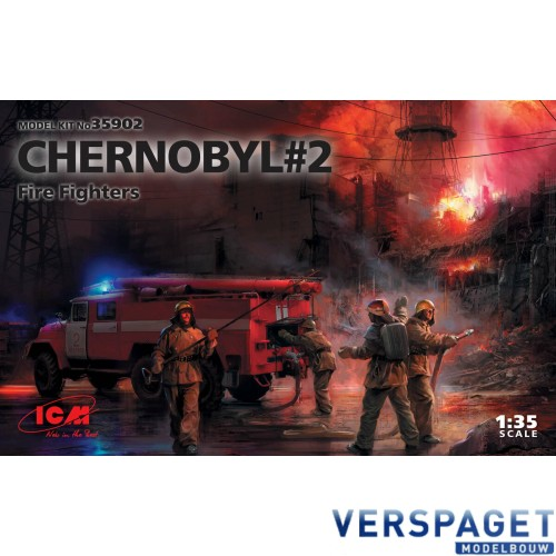 Chernobyl #2. Fire Fighters AC-40-137A firetruck & 4 figures & diorama base with background -35902