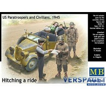 Hitching a Ride, US Paratroopers and Civilians -MB35161