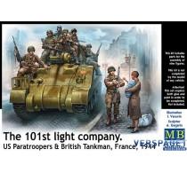 101th light company US Paratroopers & British Tankman  France, 1944 -MB35164
