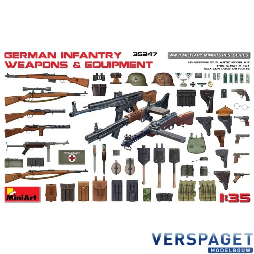 WWII Military Miniatures Series German Infantry Weapons & Equipment -35247