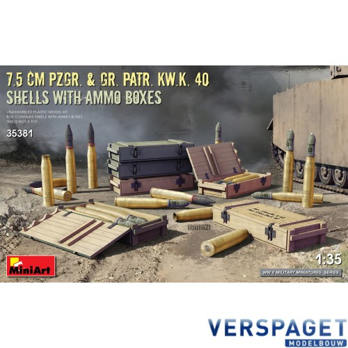 7.5cm Pzgr. & Gr. Patr. Kw.K. 40 Shells with ammo boxes -35381