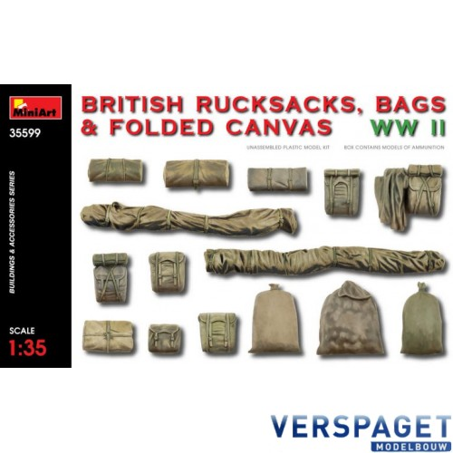 BRITISH RUCKSACKS, BAGS & FOLDED CANVAS WW2 -35599