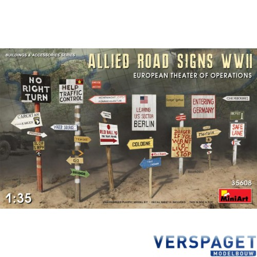 ALLIED ROAD SIGNS WWII. EUROPEAN THEATRE OF OPERATIONS -35608