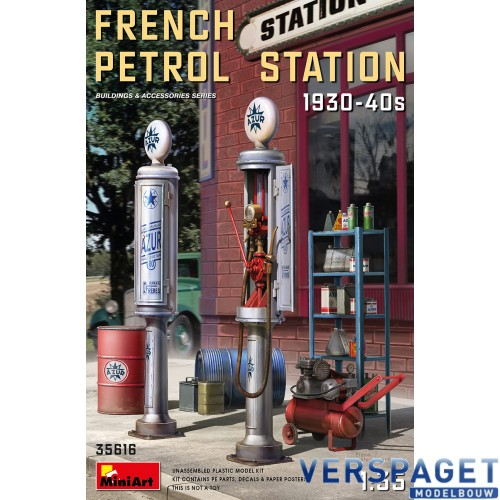 FRENCH PETROL STATION 1930-40S -35616