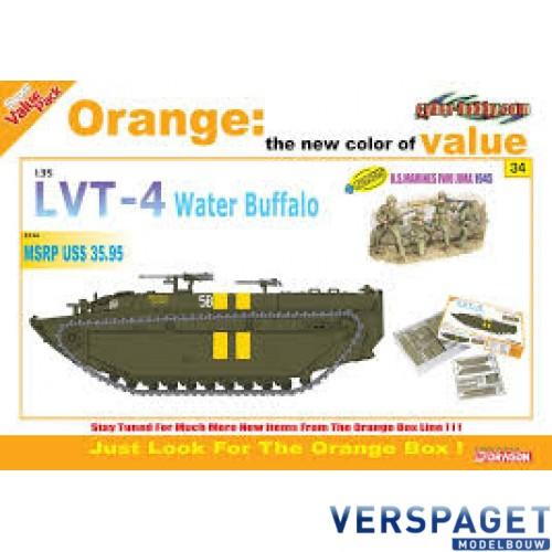 LVT-4 Water Buffalo + U.S. Marines Iwo Jima 1945 Figures Set (Orange) -9134