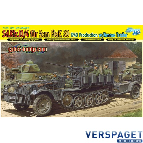 Sd.Kfz.10/4 fur 2cm FlaK 30, 1940 Production w/Ammo Trailer-6711