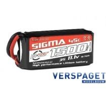 Sigma Lipo accu 11,1 Volt 1500 Mah XT60 -RC-G45-1500-3s1p