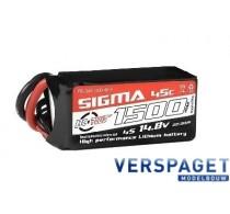 Sigma Lipo accu 14,8 Volt 1500 Mah XT60 -RC-G45-1500-4s1p