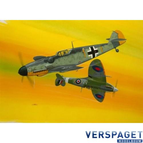 Combat Set Messerschmitt Bf109G-10 & Spitfire Mk.V & Lijm & Verf & Penseltje-63710