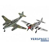 Combat Set Messerschmitt Me262 & P-51B Mustang & Lijm & Verf & Penseeltje -63711
