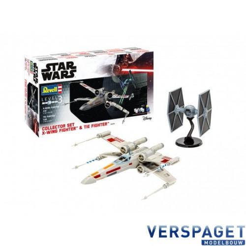 Collector Set X-Wing Fighter + TIE Fighter & Verf & Lijm & Penseeltje -06054