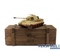 RC Pro-Edition Kingtiger Desert Paint Tank metal edition BB geleverd in luxe houten krat -1112200601