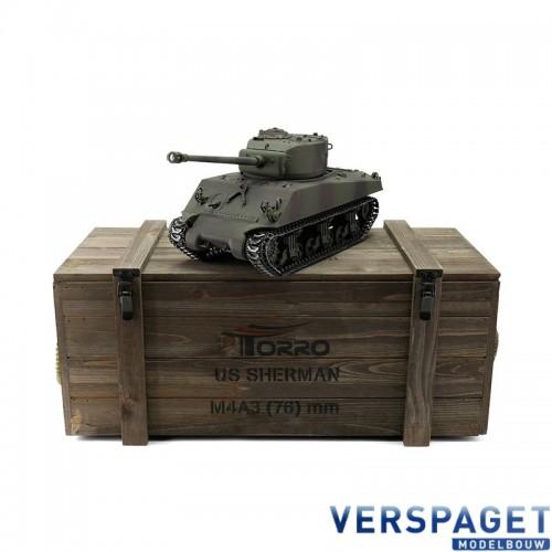 RC Pro-Edition Sherman M4A3 Tank metal edition IR geleverd in luxe houten krat -1114113065