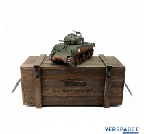 RC Pro-Edition Sherman M4A3 Tank metal edition BB geleverd in luxe houten krat -1112400760