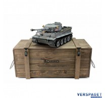 RC Pro-Edition Tiger 1 Early Version grau Tank metal edition BB geleverd in luxe houten krat -1112200100