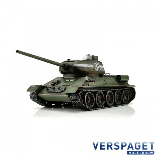RC Pro-Edition T-34/85 green IR Tank metal edition geleverd in luxe houten krat & Rook uit de loop Versie -11506-GN