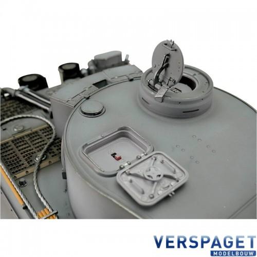 RC Pro-Edition Tiger 1 Early Version grau Tank metal edition IR geleverd in luxe houten krat & Rook uit de loop Versie -11501-GY