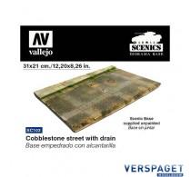 Cobblestone Street w/ Drain Section (31x21cm.) -SC103