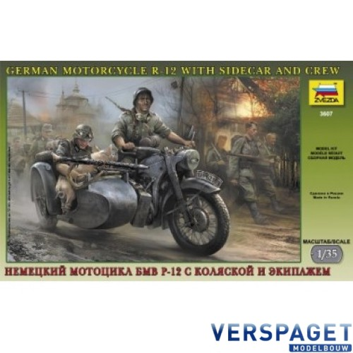 German Motorcycle R12 with Sidecar and Crew -3607
